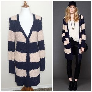 FREE PEOPLE Rugby Striped Blue & Blush Cardigan S
